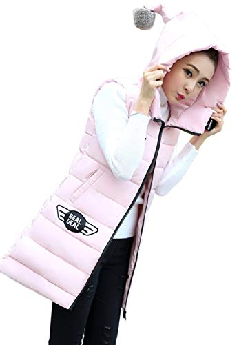 Long Warm Overcoat Hooded Cozy Vest Retro Down Vests Winter Side Cozy with Pockets Women Zipper Pink Sleeveless CHUP1ntxqw