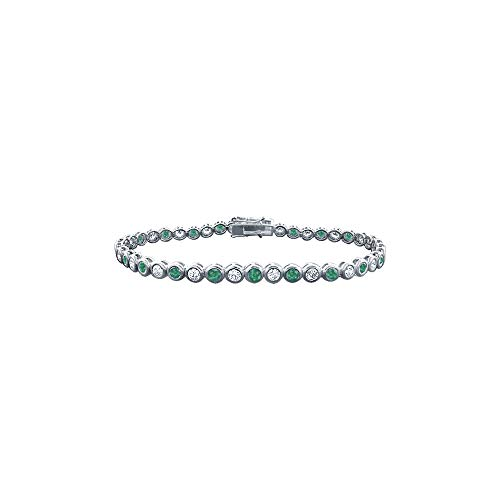 Emerald and Diamond Tennis Bracelet with 3.00 CT TGW on Platinum