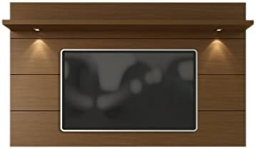 Manhattan Comfort Cabrini 2.2 Panel Collection Floating Wall TV Panel TV Wall Mount with Shelf, 85.62 L x 8.46 D x 94.35 H, Nut Brown