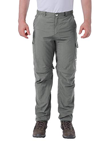 BALEAF Men's Hiking Convertible Pants Sun Protection UPF 50+ Quick Dry Gray M