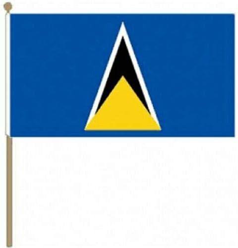 Flagmania® 12 Stück St. Lucia 30,5 x 45,7 cm große Handwinkel-Flaggen + 59 mm Button Badge