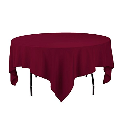 Gee Di Moda Square Tablecloth - 85 x 85 Inch - Burgundy Squa