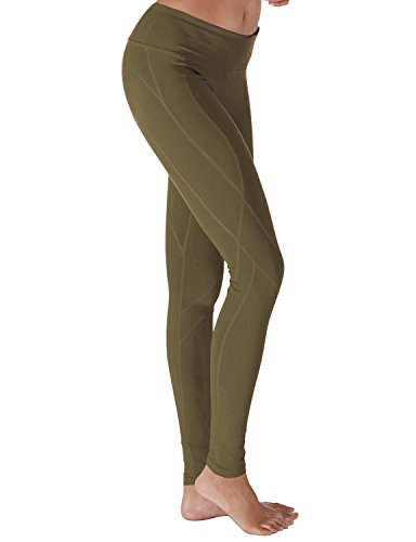 Yoga Reflex - Yoga Pants for Women - Workout Yoga Leggings Pant - Hidden Pocket (From XS to 2XL) , OLIVE , Medium