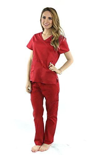 Deluxe Pop-Stretch Medical Scrubs for Women Nurse Uniform Set, Crossover Top and Multi Pocket - Red 2XL