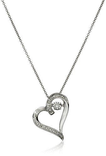 Diamond Accent Heart Necklace (Sterling Silver Dancing Diamond Accent Heart Pendant Necklace, 18