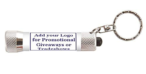 (Keychain LED Flashlight ADD YOUR LOGO - Custom Promotional, Bulk, Branded with Your LOGO for Client Gift or Trade Show Giveaway - choose your quantity (500))