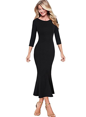 VFSHOW Womens Elegant Vintage Cocktail Party Mermaid Midi Mid-Calf Dress 1220 BLK S (Party Wear Cocktail)