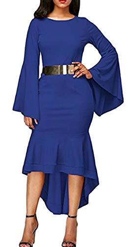 Jaycargogo Des Femmes De Cloche Longue Mode De Manchon Sexy Haut Bas Longue Robe De Bal Ourlet Bleu