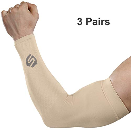 (SHINYMOD Cooling Sun Sleeves 2018 Newest Upgraded Version 1 Pair/ 3 Pairs UV Protection Sunblock Arm Tattoo Cover Sleeves for Men Women Cycling Driving Golf Running-3 Pair Beige)
