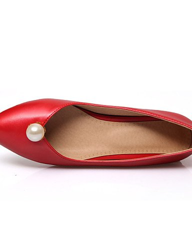 PDX 5 vestido us8 red blanco señaló oficina zapatos mujeres casual uk6 cn40 de eu39 talón y 5 carrera las plano Flats rosa negro rojo Toe ggrqHF
