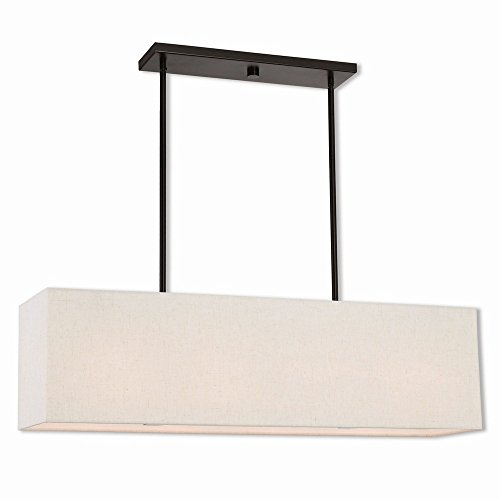 Livex Lighting 41156-92 Summit - Four Light Linear Chandelier, English Bronze Finish with Oatmeal Fabric/White Fabric Shade (Fabric Chandelier Shade)