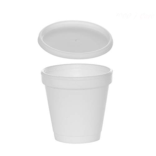 (200 Sets) 4 oz White Foam Cups with Translucent Vented Lids, Disposable Foam Drink Cups, Ideal to go Espresso Shot Cups, Insulated Foam Cups for Hot/Cold Drinks byTezzorio