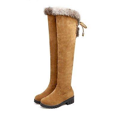 tenue bottes noir mode hautes pour nubuck bout rond bas bottes talon jaune en femmes cuir gris Chaussures brun hiver bottes pour décontractée 4Awq8afx4