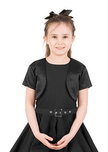 Satin Short Sleeve Bolero Childrens Girls Shrug (Black, 5-6 YRS) ()