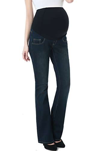 Momo Maternity Womens Stetchy Full Panel Modern Boot Cut Denim Jeans,Rich Indigo Blue,25 ()