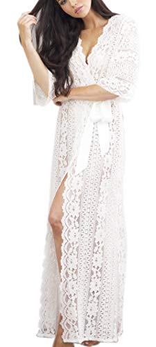 Womens Maxi Beach Dress Lace Floral Long Swimwear Bikini Cover Up (One Size, V-White)