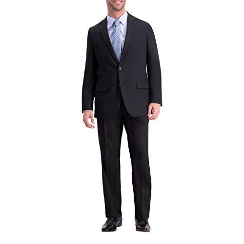 Haggar Men's Active Series Solid Gab Tailored Fit Blazer, black 44L