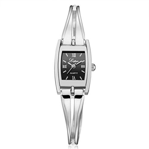 Women Watch, SUKEQ Lvpai Women's Rhinestone Wrist Watch Three-Tone Bangle Crystal Diamond Bracelet Stainless Steel Case Quartz Watch (Silver A) (Bangle Diamond Steel Watch)