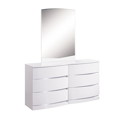 Global Furniture Aria/Aurora Collection MDF/Wood Veneer Dresser, White (Chair Aria)