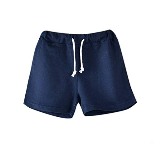 Sunhusing Children's Solid Color Drawstring Tie Casual Shorts Comfortable Joker Candy Color Summer Shorts Navy ()