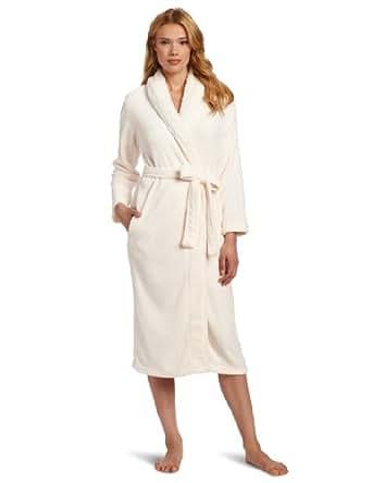 Dearfoams Women's Sherpa Shawl Solid Long Robe, Pristine, Medium