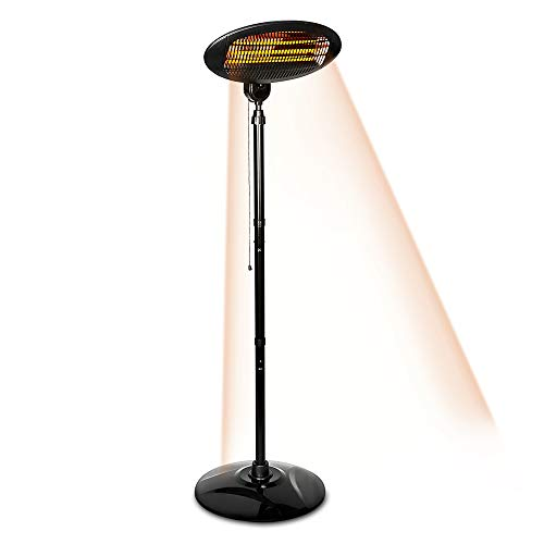 LIVIVO Electric 2kW Patio Heater with 3 Power Settings-Powerful Quartz Tube Heating Element with Integrated Safety Over-Suitable for Indoor Outdoor Use (1)