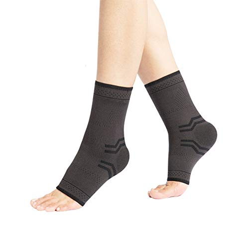 Foot Sleeve Ankle Brace for Men Women TaiRun Ankle Support Braces Fasciitis Foot Socks with Arch Support, Eases Swelling, Heel Spurs, Achilles Tendon + Compression Wrap Strap – Black 2 Pcs(L)