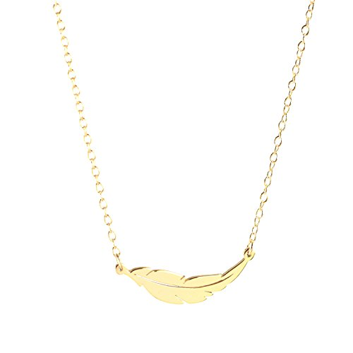 Deidreamers 925 Sterling Silver Feather Pendant Necklace (Gold)