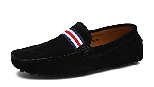 TDA Mens British Comfort Stripes Suede Driving Loafers Boat Shoes Black amxNEsW1M
