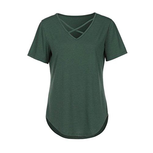 Yeamile💋💝 Camiseta de Mujer Tops Suelto Blusa Causal Camisetas Ocasionales Moda Camiseta sin Mangas con Cuello en V Cruzada para Mujer (Blanco, ...