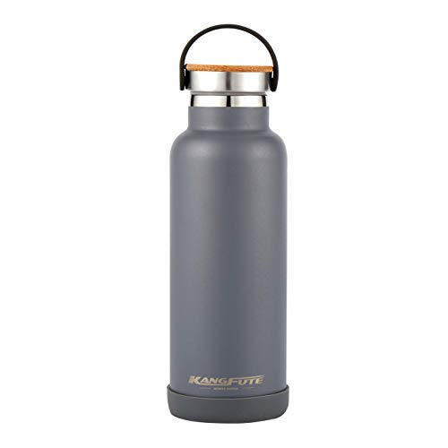 KANGFUTE Standard Mouth Insulated Water Bottle, Double Walled 18/8 Stainless Steel Thermos Flask, Gray, 21oz ()