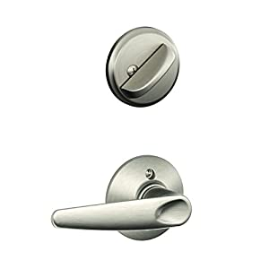 Schlage F59 JAZ 619 Jazz Interior Lever with Deadbolt, Satin Nickel (Interior Half Only)
