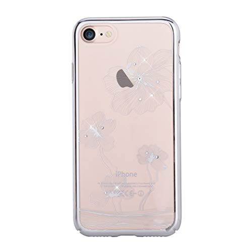 Comma Crystal Flora 360 Case for Apple iPhone 8 & iPhone 7, Premium Quality & Shock Resistance PC Transparent with Original Swarovski Crystals, 4.7 inch (Silver)