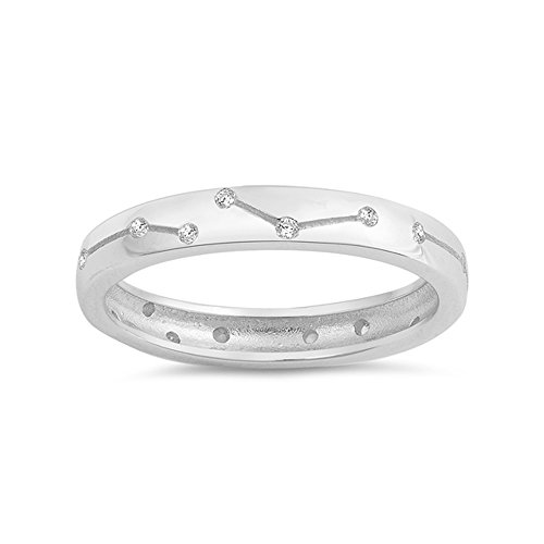 .925 Sterling Silver Constellation Cubic Zirconia Wedding Band ()