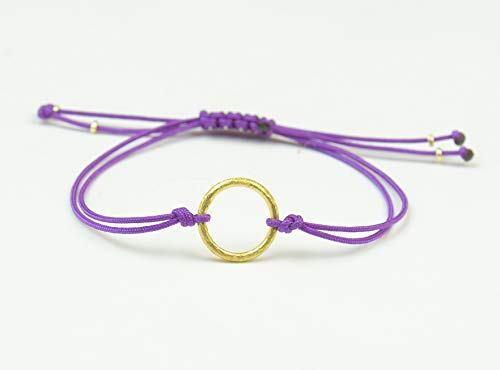 (Sterling Silver vermeil gold Karma charm bracelet.Good Karma bracelet.Circle of life)