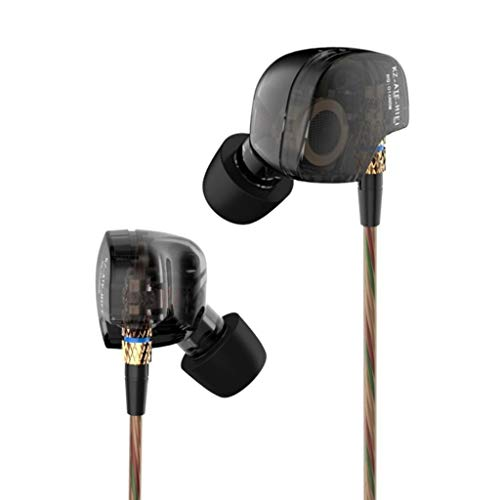 KZ FBA_4330330199 Beteran  ATE -ATE Dynamic Balanced Armature IEMS In Ear HIFI Monitors DJ Studio Stereo Music Earphones Headphone Earbuds For Mobile Phone iPhone Samsung MP3 MP4 Music Player no Mic (Balck)