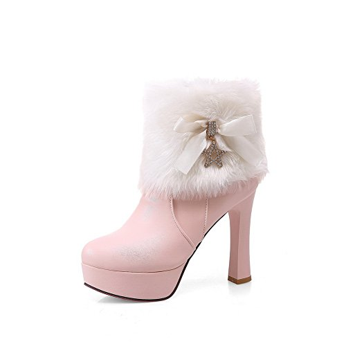 A&N Girls Fur Collar Platform Spun Gold Bowknot Imitated Leather Boots Pink