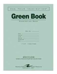 Bulk Recycled Green Exam Books, Wide Margin 11''x8.5'': Roaring Spring 77509 (500 Exam Books)