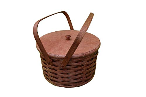 (Amish Handcrafted Round Double Pie Basket with Two Swivel Handles, Divider Tray and Lid - Authentic and Collectible Basket Handmade in USA - Natural Basket with Accent Colors Which May Vary (Blue, Red, Green, Burgundy, Purple, Black, Brown, or Natural) Possibility of Fresh Stain Odor, Will Need to Be Aired Out Upon Product Arrival)