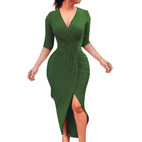 CCatyam Plus Size Half Sleeve V Neck Dresses for Women Bandage Solid Split Slim Sexy Party Club Casual Green