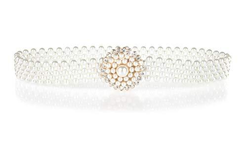 - Stretch Belts for Women Pearl Rhinestone White Elastic Belt by AMI VEIL