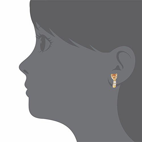 Plaqué Or 18 Carats Cristal Ambre en acier inoxydable 8 mm Boucles d'oreilles en forme de cœur pour enfant, Kids &fille