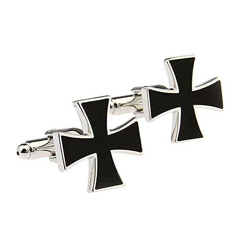 Belleman Mens Celtic Cross Cufflinks Jesus Catholic Irish Ireland Cuff Links for Wedding Business Christian (Formal & Black)