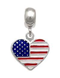 Berloque prata bandeira dos estados unidos