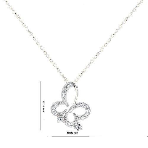 Libertini pendentif argent 925 femme serti de Diamant en forme de Papillon