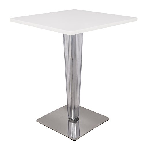 LeisureMod Mid-Century MDF Square Bistro Dining Table with Acrylic Chrome Base in White
