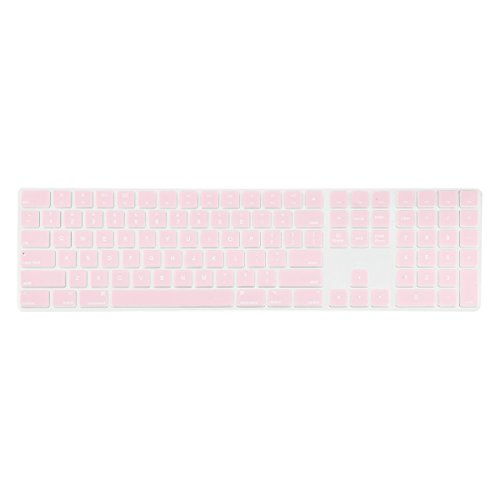 TOP CASE - Ultra Thin Silicone Soft Keyboard Cover Skin Compatible with Apple Magic Keyboard with Numeric Keypad Model: MQ052LL/A A1843 (US Layout, 2017 Released) - Rose Quartz