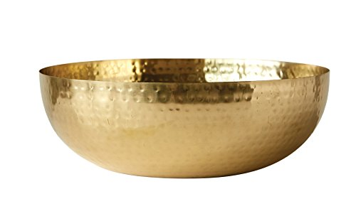 Creative Co-Op DA7392 Hammered Metal Bowl with Gold, Finish,