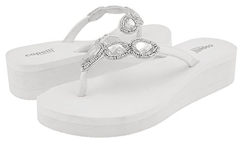 Capelli New York Faux Leather Thong with Gem Ladies Flip Flop White Combo 6