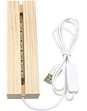 LED trä display bas – rektangel kristall trä upplyst basstativ, akryl ljusplatta bas – varm belysning, 3D handgjord USB trä bas för harts konst dekor